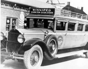 The Fort Garry Motor Body and Paint Works built their first bus in 1933. It consisted of a stretched 11-passenger body on a Packard car chassis. In following years the company built larger bodies and put them on truck chassis.