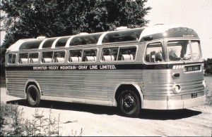 Several of the earlier MCI coaches were used in sightseeing service and had special features. This coach was operated by Brewster and presumably saw service in and near Banff. Note the windows in the roof to enhance sightseeing.